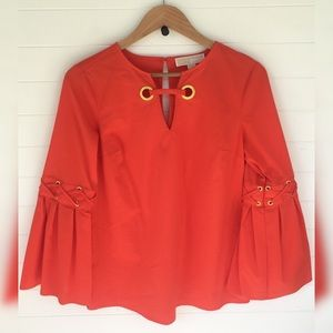 MMK Bell Sleeve Lace Up Tunic Retro Bright Orange
